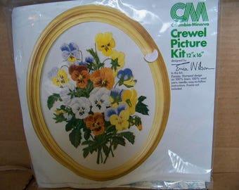 Columbia Minerva Crewel Picture Kit Pansies Erica Wilson