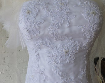 Lavish lace strapless wedding dress bridal gown sz 10