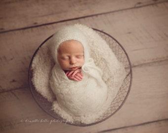 Angora Bonnet- Newborn Size- Photography Prop- YOU choose the color! 16 choices