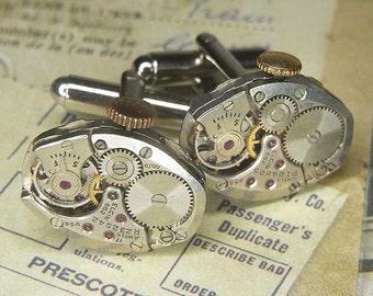 Steampunk Cuff Links Cufflinks - TORCH SOLDERED - Antique Silver Oval ELGIN Watch Movements w Original Crowns - Birthday Wedding Gift
