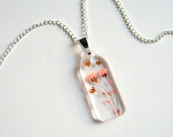 Pink Gypsophila - Real Flower Garden Necklace - botanical jewelry, pressed flowers, baby's breath, Spring necklace, flower necklace, ooak