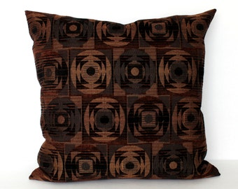 Copper Pillow Cover Geometric Chenille Upholstery Fabric Decorative Pillow Throw Pillow Cover Euro Sham 26x26 24x24 22x22 20x20 18x18 16x16