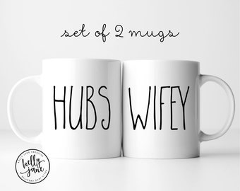 Hubs + Wifey Mugs | His and Hers Coffee Mug Set | Valentine Gift for Married Couple | Anniversary Gift Ideas | Bride & Groom Gift