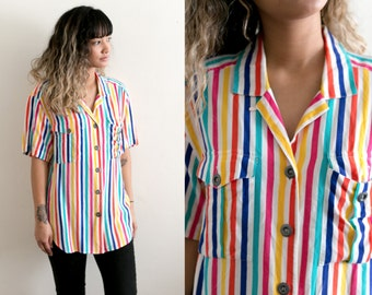 Rainbow Striped Blouse / Multicolor Striped Button Up Shirt / Rainbow Top / 80s Collared Retro Boyfriend Oversized Blouse Short Sleeve