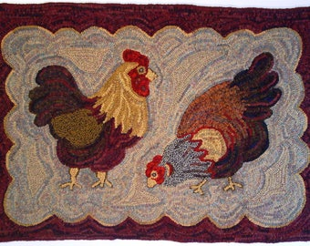 """Rug Hooking PATTERN, Two Chickens, 26"""" x 38"""", J533"""