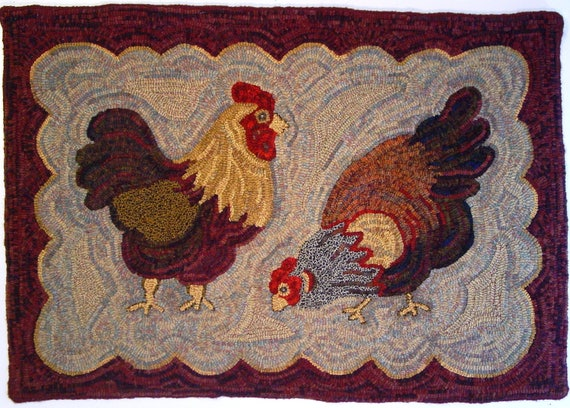"Rug Hooking PATTERN, Two Chickens, 26"" x 38"", J533"