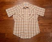 mens vintage shirt 70s Levis plaid shirt short sleeve 1970 Levi's western pearl snap shirt 1970s menswear large L slim slimfit
