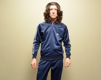 vintage 80s Adidas track suit 1980 Adidas superstar warm up jacket pants blue white 1980 Adidas M/L RUN DMC USA Atp Keyrolan
