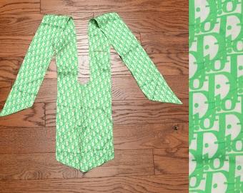 vintage 50s 60s Dior silk necktie scarf cravat ascot neckerchief Christian Dior Colifichets 1950 1960 green white monogram RARE