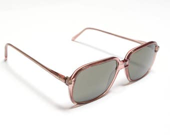 vintage 60s sunglasses clear pink plastic mod sunglasses rectangle lens 1960 gray lens Greco Servin Spain