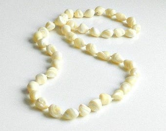 Long Mother of Pearl Necklace, Vintage Hand Knotted Chunky Necklace, MOP Beaded Necklace.