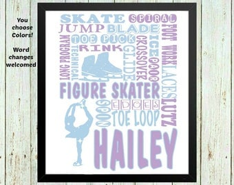Figure Skating Art, figure skating gifts, ice skating gifts, Personalized ice skating print, gift for ice skater