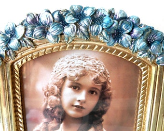 Floral Picture Frame 5 x 7 Wedding Bouquet Photo Picture Bridal Bouquet Memory Charm Gold Blue Picture Frame Ornate Child Wall Nursery Decor