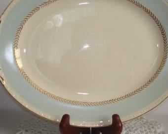 Platter Vintage Homer Laughlin's Georgian Pattern Dinnerware Completer Piece Eggshell & Pastel Blue Coloring Active