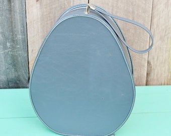 Vintage Egg Shaped Travel Case Blue White Oval Handbag Purse Overnight Bag Makeup Case Carry On Hat Case Child's Ballet Case Doll Suitcase