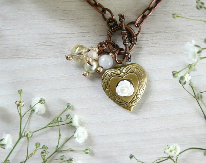 short brass necklace with heart pendant, layering necklace, bead dangles, personalized locket, flower locket, heart locket, romantic locket