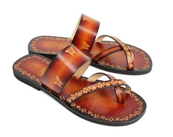 Women Slide On Flat Sandals, Hand Painted Leather Sandals, Comfy and Lovely Ladies Handmade Slides, Burnished - BRIGITA