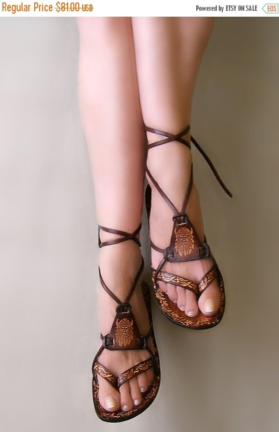 XMAS SALE Brown Burnished Leather Lace Up Handmade Flat Sandals With Design - Fantasy II