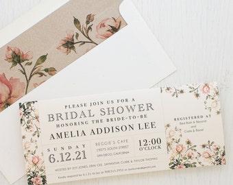 Rose Floral Bridal Shower Invitation, Boho Bridal Shower Card With Matching  Envelope Liner, Unique
