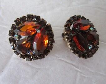 signed weiss earrings..amber stones, clip earrings, vintage earrings