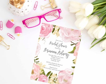 Pink Peony Rose Floral Bridal Shower Invitation, Watercolor Classic Elegant Wedding Invite Printable Digital