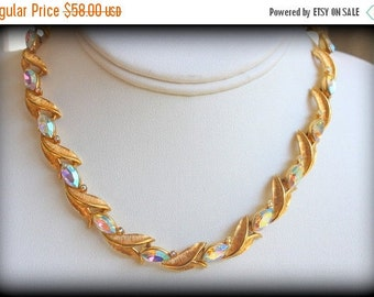 SPRING SALE Vintage Couture Mid Century 1950s Signed Kramer Gold Tone Metal Aurora Borealis Rhinestone Choker Necklace