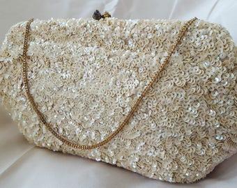 Great Vintage Josef France Ivory Sequin Beaded Formal Handbag Purse/Hand Bag/Evening Bag for Cocktail Party