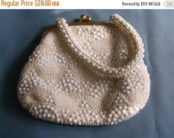 SAVE NOW Vintage Handbag White Plastic Beads Cream Fabric Wedding Bridal Party Purse Special Occasion Gift for Her Birthday Christmas Holida