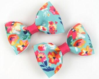 Pigtail bows, cute hair bows, girls hair bows, aqua blue floral clips, girls hair clips, baby hair clips, alligator non slip pair, little