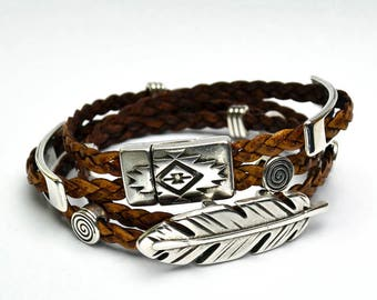 Light brown 3-braid leather wrap bracelet with silver metal sliders magnetic clasp