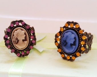 Gothic Vintage steampunk bronze Victorian lady cabochon adjustable filigree ring Israel Hand made