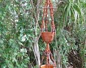 Brown Orange 44 1/2 Inch Beads DOUBLE Vintage Driftwood Macrame Plant Hanger