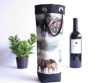 Bottle Gift Tote - Horses / Black Canvas - Wine, Whiskey, Craft Beer, 750ml Bottle Bag
