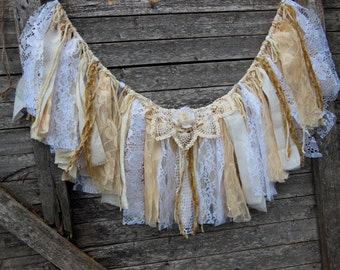fabric banner, boho decor, fabric garland, glamping, wedding, neutral window swag, rag garland