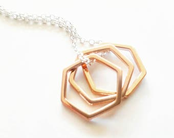 Rose Gold Necklace - Sterling Silver Necklace - Layering Necklace - Dainty Necklace - Hexagon Necklace - Bridesmaid Necklace - Necklace Gift