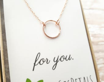 Karma Necklace - Open Circle Necklace - Rose Gold Necklace - Rose Gold and Silver Necklace - Bridesmaid Necklace - Dainty Circle Necklace