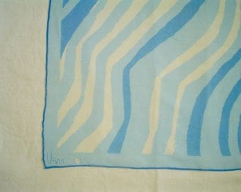 Vintage Vera Scarf Vera Sheer with Blue and White Stripes Square Vintage Scarf