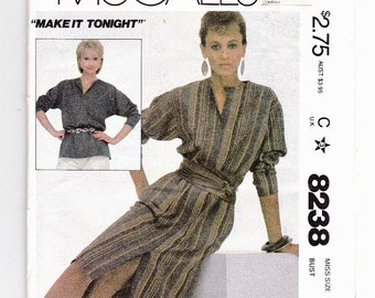 """McCall's 8238 Misses Size 10 Pullover Shirt Dress or Tunic Top """"Make It Tonight"""" Vintage Uncut Pattern"""