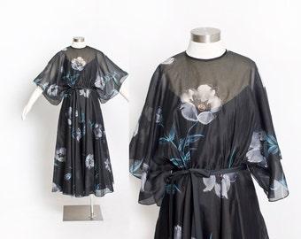 Vintage 70s Dress - Black Chiffon Floral Illusion Full Skirt Boho Dress 1970s - Small