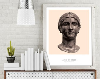 Sappho | Portrait of Sappho, Greek Literature, Sappho Photograph, Sappho Bust Print, Modern Home Decor, Peach and White, Sappho of Lesbos