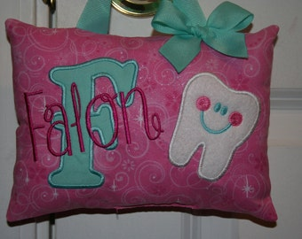 Tooth Fairy Pillow for Girls Personalized -Glitter Pink- Custom Made - Boutique
