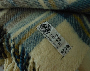 Wool Plaid Throw Cream Blues Browns