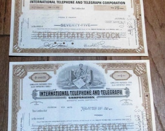 2 authentic Stock Certificates for International Telephone and Telegraph, 1968 and 1976 ~ FREE SHIPPING