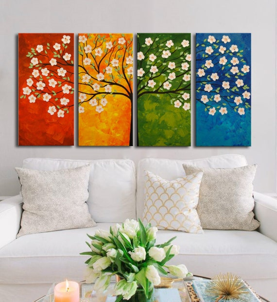 Original modern painting, Blooming Cherry Tree, Oil Painting, Heavy Teaxtured, Palette Knife painting, Large Painting, colorful