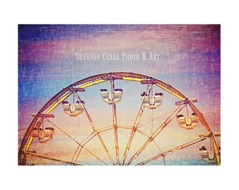 Ferris Wheel Photo. Carnival Photography. Fair. Sunset. Whimsical. Colorful. Nursery Decor. Children's  Art. Summer. Orange Pink Blue Purple