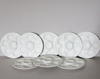 SET OF 8 Elegant Vintage  Oyster Plate,  LONGCHAMP, Creamy White French Majolica Oyster Serving Plate