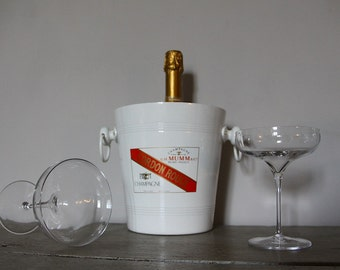 French Vintage White Champagne Bucket Parisien Style, White Champagne Cooler
