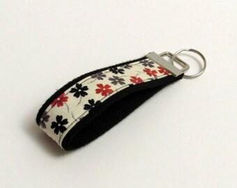 Christmas Sale Handmade Chevron Key Chain, Fabric Key Fob, Key Strap - Gray, Cream, Red and Black