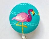 Flamingo Badge Reel - Badge Holder - ID Badge Holder - Pink Flamingo Retractable Badge - Nurse Gift - ID Badge Reel - Fabric Badge Reel