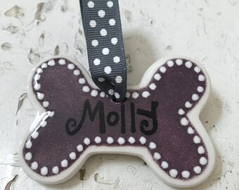 Purple Glitter Dog Bone Ornament (Personalized)